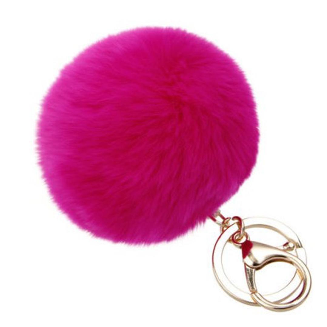 SUPPION Furry Metal Pompom Ball Keychain Bag Plush Car Key Ring Pendant (Hot Pink)