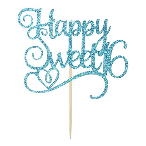 Blue Glitter Happy Sweet 16 Cake Topper, Birthday Party Decorations Supplies