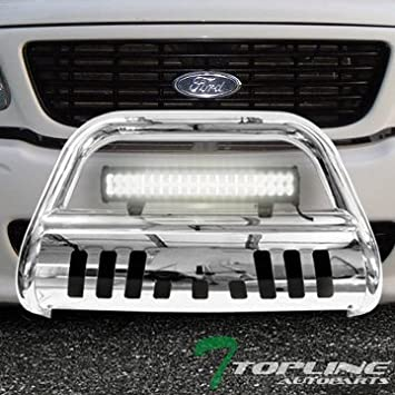 04 Heritage Topline Autopart Matte Black AVT Style Bull Bar Brush Push Front Bumper Grill Grille Guard With Skid Plate For 97-03 Ford F150 97-02 Expedition F250