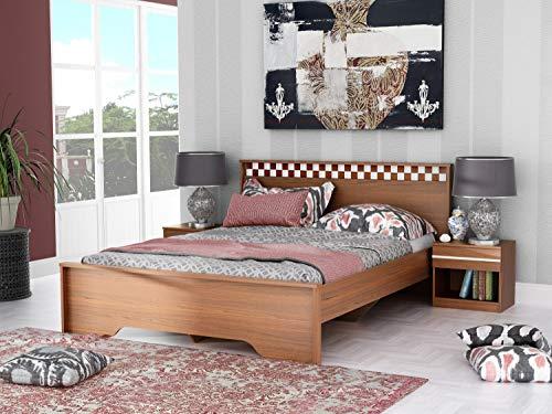 Stylespa Eon Queen Size Engineered Wood Bed  MDF   Boston Walnut