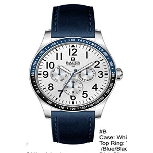 Racer Reloj Cronógrafo para Hombre de Cuarzo con Correa en Piel antialergica R505: Amazon.es: Relojes