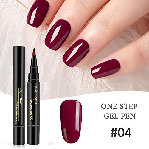 Newkelly 1 Pc 3 In 1 Step Nail Gel Painting Varnish Pen One Step Nail To Use UV Gel (Light Coat Brightener Color)