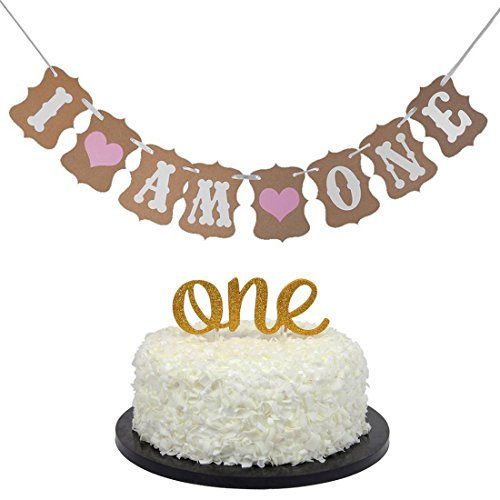 1st Birthday Decoration Kit One Cake Topper I Am Banner For First Baby Shower Party Decorations