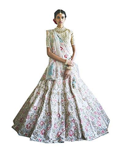 In Sposa Bollywood Seta Facioun Da Progettista Etnici Rakhi Bianca Nozze Raccolta Lehenga Indiano Choli Partywear UZgqw7C