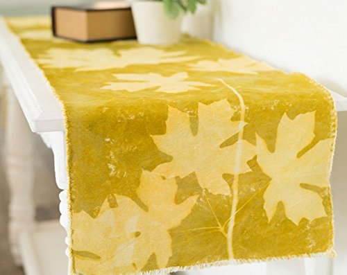 Table Runner Maple Leaves Organic Canvas Hand Dyed Avocado Green 12x67""