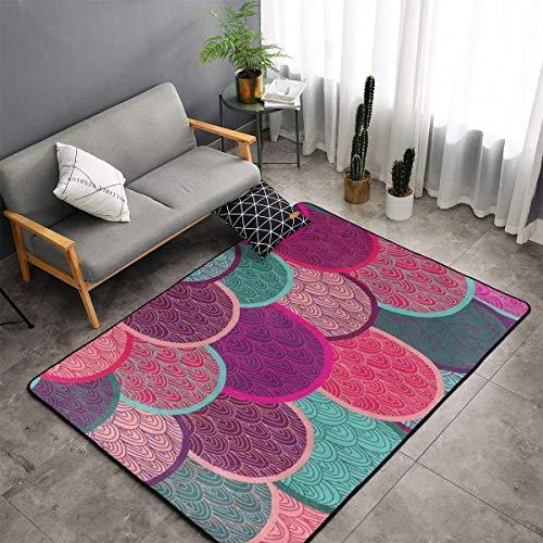 Memory Foam Area Rugs for Hotel Playroom Bedroom, Anti-Skid Backing Doormat Floor Mat Premium Throw Rugs Runner, Anti Fatigue, Colorful Mermaid Fish Scales Shaggy Rugs