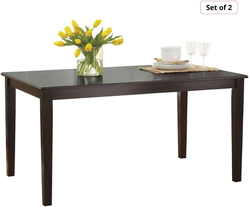 2-Sets of Seamlessly Fit Bankston Rectangle 6-Person Dining Table, 58.5 L x 35.5 W x 30 H, Espresso