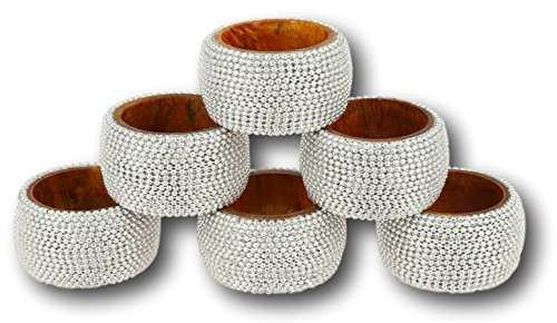 Aluminum Rings Napkin (ShalinIndia Handmade Indian Silver Aluminum Ball Chain Wooden Napkin Ring Set - Set of 6 Napkin Rings - Industrial Chic Look - Made in India)