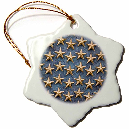 3dRose orn_88990_1 Field of Stars, WWII Memorial, Washington DC - US09 DFR0089 - David R. Frazier - Snowflake Ornament, Porcelain, (Porcelain Star Ornament)