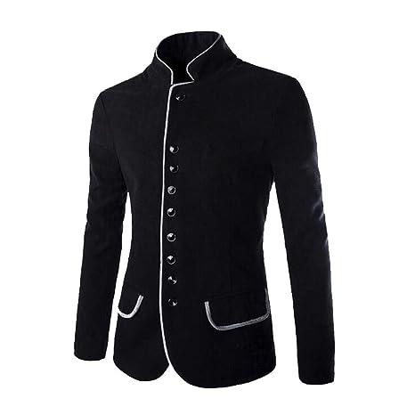 Amazon.com: Easytoy Fashion Men Autumn Winter Button Coat ...