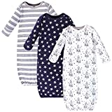 Hudson Baby Unisex Cotton Gowns, Rocket Ship, 0-6 Months