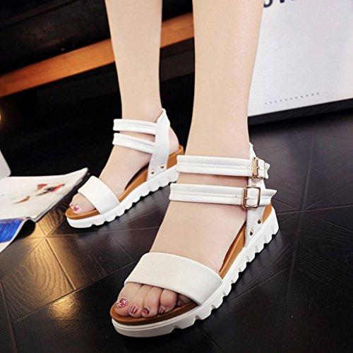 DEESEE(TM) Women Simple Sandals Leather Flat Sandals Ladies Shoes White 0ILfhZ