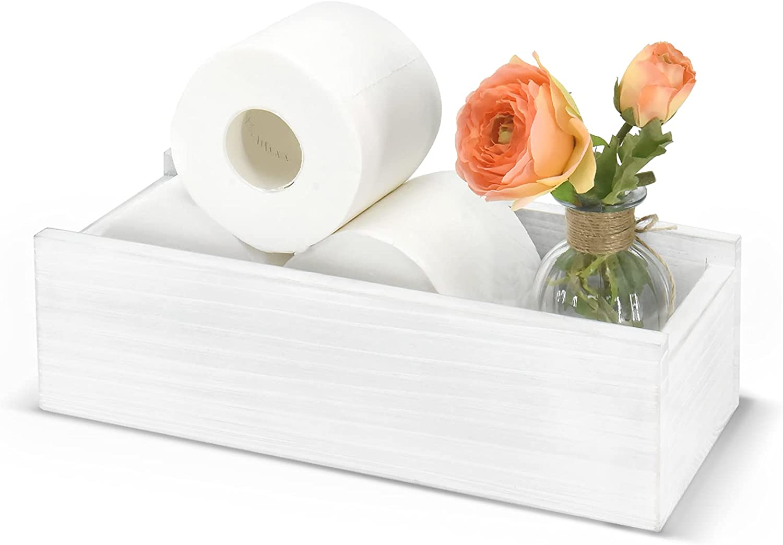 Bathroom Decor Box, Farmhouse Toilet Tank Box Tray, Nice Bathroom Box,Rustic Toilet Paper Holder, Toilet Tank Topper ,Funny Home Decor Box for Bathroom, Toilet, Table and Counter (White)