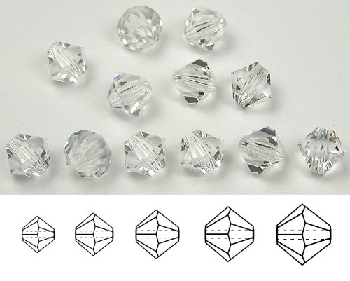 6mm Clear Crystal, Czech MC Rondell Bead (Bicone, Diamond Shape), 12 pieces