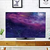 Leighhome Cover for Wall Mount tv Spiritual Dim Star Clusters Milky Circle Back with Solar System Cover Mount tv W19 x H30 INCH/TV 32''