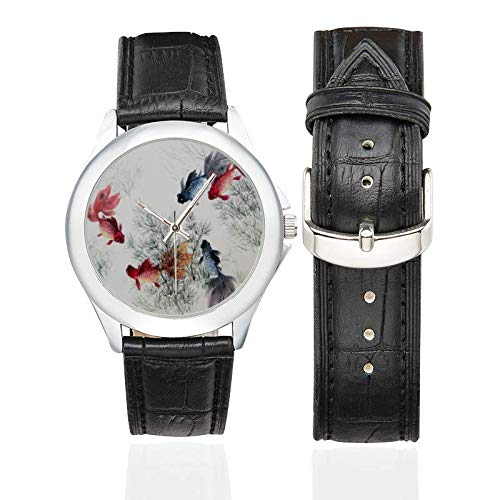 Women's Classic Leather Strap Watch The Goldfish Pattern