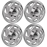 "Premium Set of 4 Pack 16"" Inch Hubcaps for Ford Trucks & Cargo Vans E150 E250 E350 Econoline / F150 F250 F350 , OEM Genuine - Easy Snap On - Aftermarket Wheel Covers - Silver & Chrome (4pcs)"