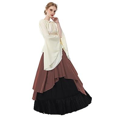 767e69627c4b NSPSTT Women Renaissance Medieval Dress Vintage Victorian Long Dress Gown  Brown  Amazon.co.uk  Clothing