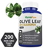 Olive Leaf Extract 20% 200 Caps (Non-GMO & Gluten Free) 750 mg - Oleuropein - Vegetarian - Super Strength - Immune Support, Cardiovascular Health & Antioxidant Supplement - No Oil Larger Image