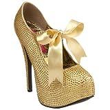 Best-choise Women's Mary Jane 5 3/4'' Stiletto Heel Rhinestone W/Ribbon Bow Tie Perfect Gift (Color : Gold Rhinestones, Size : 8)