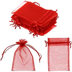 "SumDirect 100Pcs 4""x6"" Sheer Drawstring Organza Jewelry Pouches Wedding Party Christmas Favor Gift Bags (Red)"