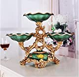 European fruit dish modern living room of high-grade tea table divided three layer dry disc set ZCL1128016 ( Color : Green )