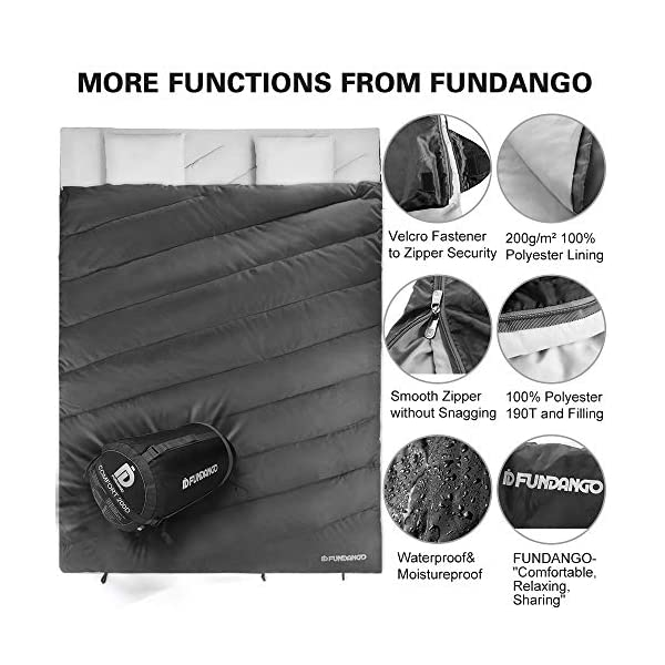 FUNDANGO Sleeping Bag Queen Size XL Double Sleeping Bag for Camping, Hiking, Traveling,2 Person Sleeping Bag with 2 Pillows and Compression Bag 5