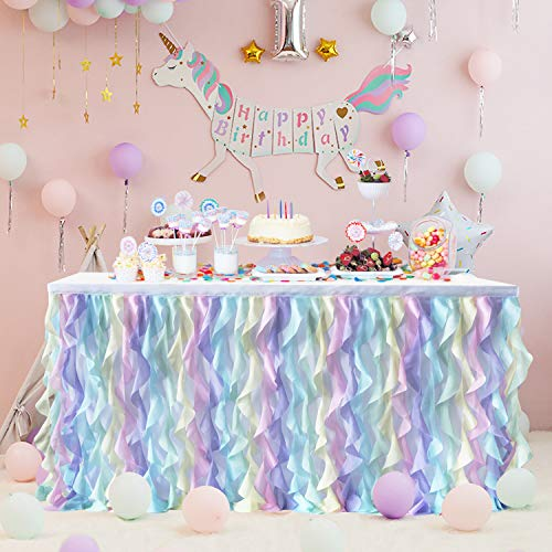 (Rainbow Unicorn Curly Willow Table Skirting Mermaid 9ft Lace Taffeta Table Skirt Tutu Tulle Table Skirt for Round or Rectangle Table for Birthday, Wedding, Party Decoration Supplies)