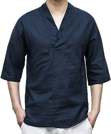 TUDUZ Camisa Casual de Algodón y Lino de Color Liso Ropa con Cuello en V Cosido Manga Siete Cuartos Camisetas Hombre Manga Corta (Beige L): Amazon.es: Ropa y accesorios