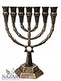 Brass Jerusalem Menora Judaica Star of David Menorah Made in Israel 9.4'' / 24cm