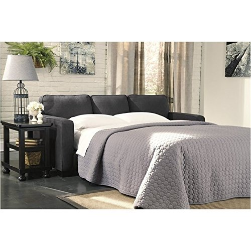 Bowery Hill Microfiber Queen Size Sleeper Sofa in Charcoal