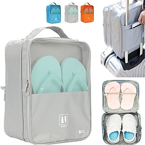Travel Shoe Bag, MoreTeam 3 in 1 Shoe Storage Bag Holds 3 Pair of Shoes, Seperate Your Shoes From Clothes, Portable and Save Space for Men, Women, Gym, Easy And Quick Access To Your Shoes (Grey)