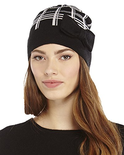 Kate Spade Womens Winter Knit Muffler Scarf & Beanie Hat Set Black/Cream by Kate Spade New York