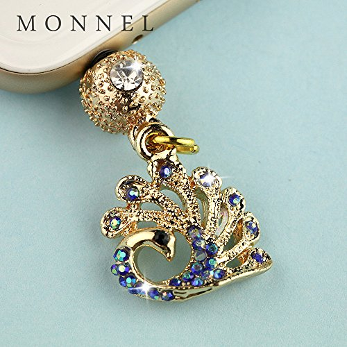 ip695B Cute Blue Crystal Peacock Crown Anti Dust Charm Plug fit for iPhone7/6 - Charms Crown Phone Cell