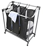 Home Basics Sunbeam Heavy Duty Triple Laundry Hamper Sorter Rolling with Wheels, Black