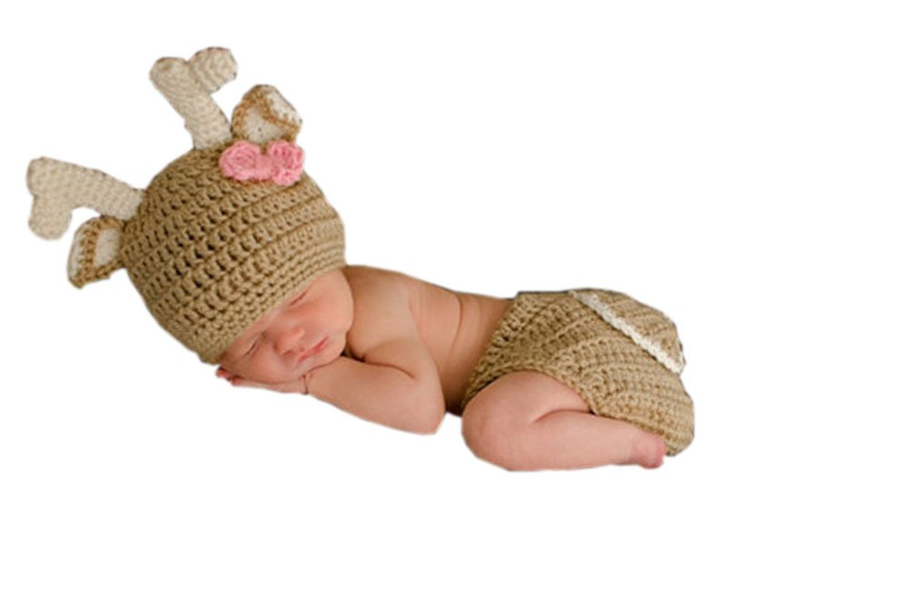 Pinbo® Newborn Baby Girls Photography Prop Crochet Knitted Deer Hat Diaper