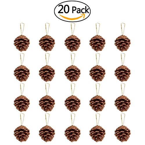 NICEXMAS 20pcs 4-6cm Christmas Pine Cones Pendant With String Natural Wood Christmas Tree Decoration Crafts Home (Pinecone Christmas Crafts)