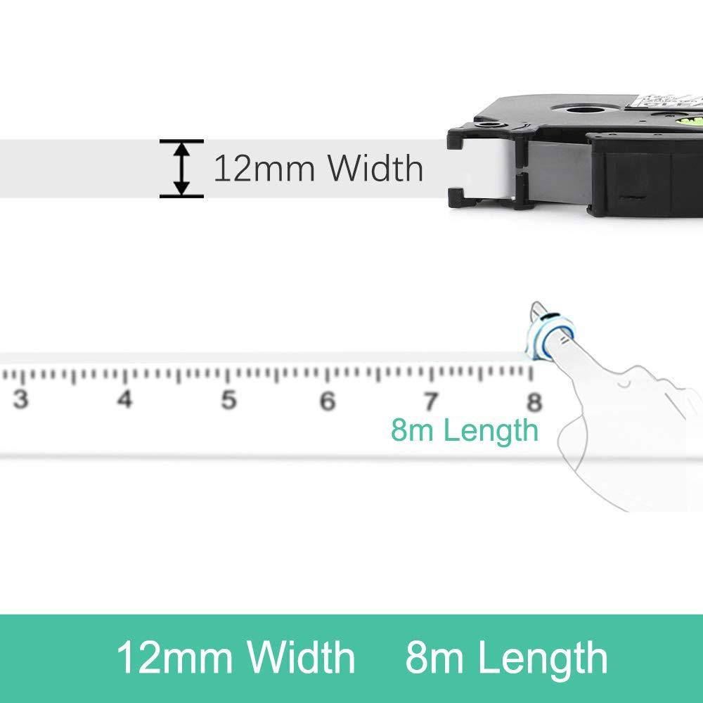 4x Ersetzen Brother P-Touch TZe-131 12mm Schriftband Schwarz auf Transparent Laminiert 12mm x 8m B/änder f/ür Brother P-Touch 1010 H100R H100LB H105 D400 D600VP 1000 2730VP