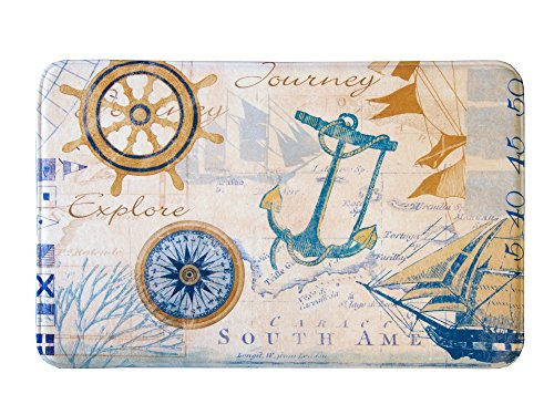 Coastal Printed Memory Foam Anti-Fatigue Bath Mat. Multi-Purpose, Non-Slip, Absorbent Laundry Room, Kitchen, Bath and Shower Rug. Eliza Collection By Great Bay Home Brand. (Nautical, 17