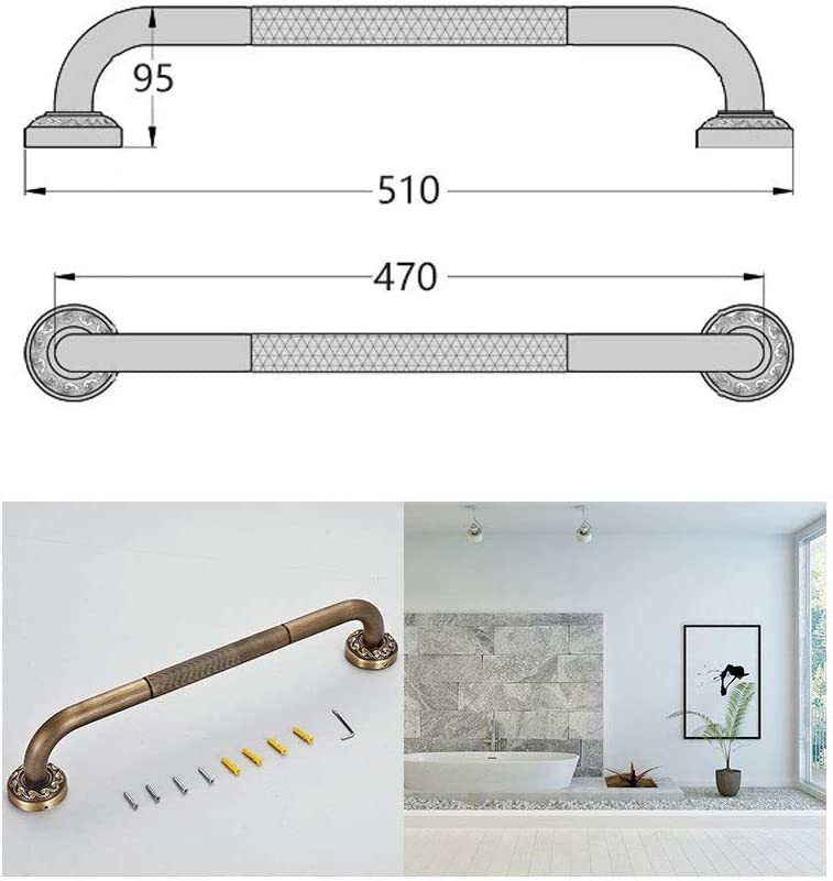 Wp-aqm Bathroom Handrail Toilet Anti-Skid Handle Bathtub Pull-up Armrest Anti-Skid Support Handle Suitable for The Elderly Gold Children and Disabled Color : Brass