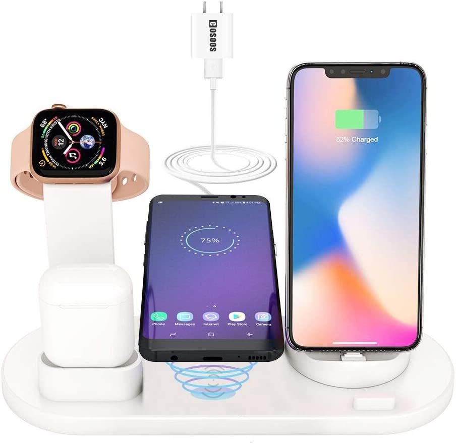 4in1 Wireless Charging Station for Apple Product,iWatch Series 5/4/3/2/1, Airpods Pro/2/1,COSOOS Wireless Charging Dock for iPhone 11 Pro Max/Xs/Xr/X/10/8 Plus/7/6s/5s/5c/SE(No Watch Charger)