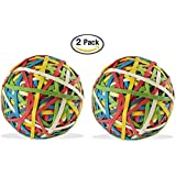 ACCO Rubber Band Ball, 275 Bands Per Ball, Assorted Colors, 1/Box (72155) (2)