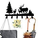 So Young Home Storage Hooks Iron Decorative Wall Keys Hanging Mount 6 Hooks Rack with 3 Holes for Coat Umbrella (deer)