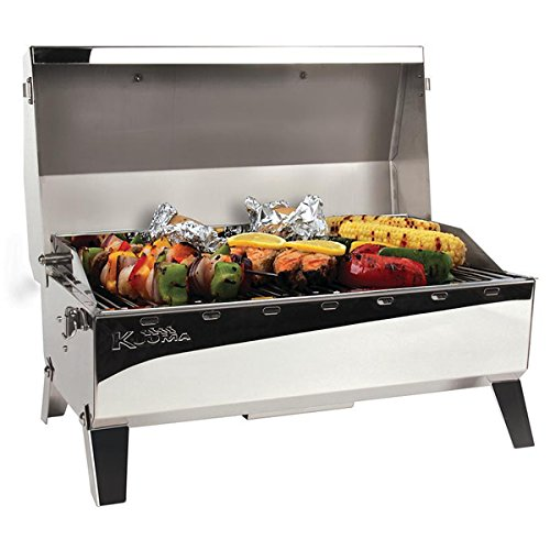 Propane Grill Rail Mount - Kuuma Stow and Go Propane Tabletop and Mountable Grill - Stainless Steel Gas Grill with Foldable Legs | Great for Camping, Boating, Picnics, Barbeques & More |13,000 BTUs - (58130)