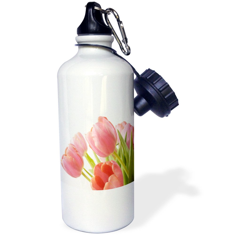 White 21 oz 3dRose wb/_55218/_1Pleasantly Pink Tulips Sports Water Bottle