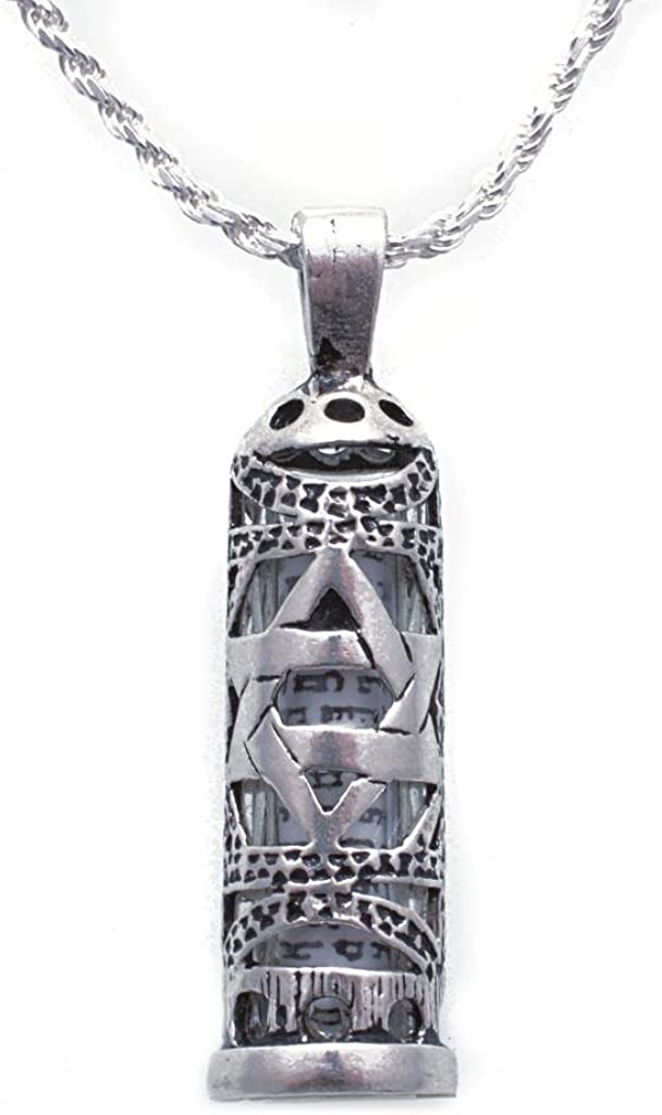 """925 Sterling Silver Mezuzah Necklace for Men or Women Star of David Pendant Detail - Enclosed Scroll, 20"""""""