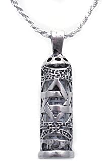 Amazon mezuzah pendant with shema yisrael scroll pendant 925 sterling silver mezuzah necklace for men with star of david pendant and enclosed scroll mozeypictures Images