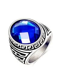 AUMRET Stainless Steel Punk Blue Love Couple Marriage Sapphire 316L Titanium Steel Ring