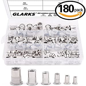 Glarks 180Pcs 304 Stainless Steel Flat Head Threaded Rivetnut Insert Nutsert Rivet Nut Assortment Kit - M3 M4 M5 M6 M8 M10 from Glarks