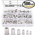 Glarks 180Pcs 304 Stainless Steel Rivet Nut Assortment Kit Threaded Insert Nutsert-M3 M4 M5 M6 M8 M10